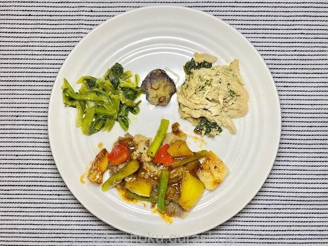 nosh牛肉と野菜のxo醤炒め盛り付け